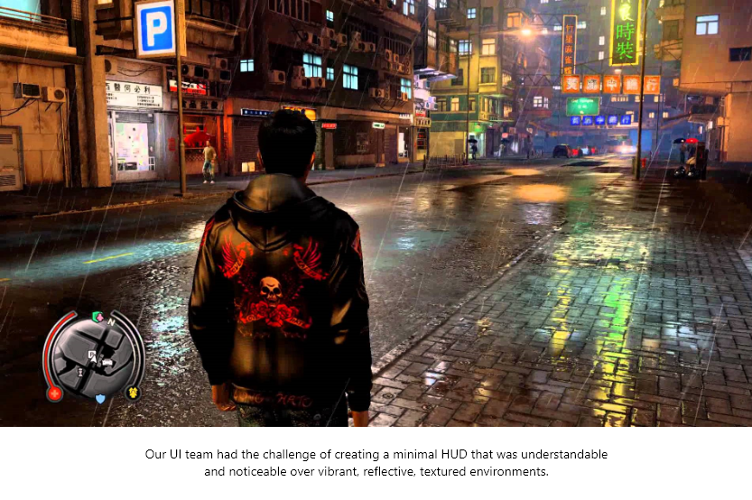 Sleeping Dogs Minimal UI on vibrant environment